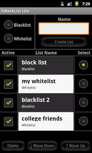 ABlacklist has whitelist and blacklists with phone numbers from your contacts
