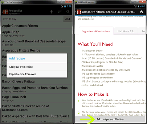 Manage Recipes in Food Planner.
