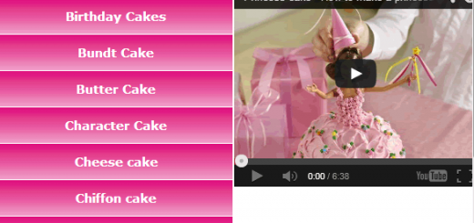 Main interface and video tutorial section of Cake Recipe