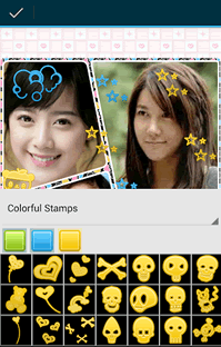 Various stamps can be added to your photos.