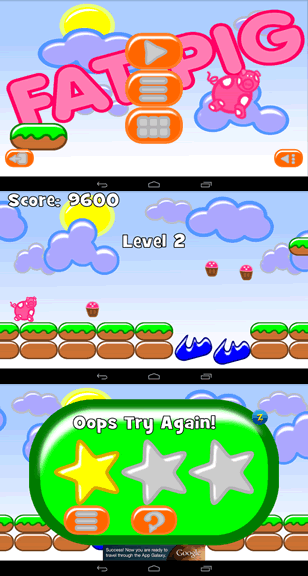 You start the game, collect cupcakes and get a start rating at the end of a level.
