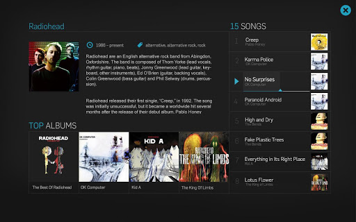 Artist listing in Taste Filter with top albums and tracks.