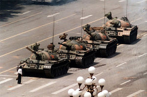 The 'Tank man' in Tianasquare blocking the advance of tanks.