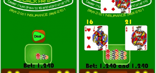 Simple gamplay for BlackJack: first, place your bets, second get hit or stand.