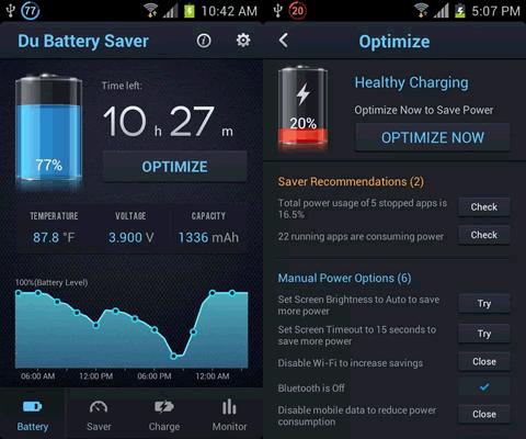 Battery optimization screens.