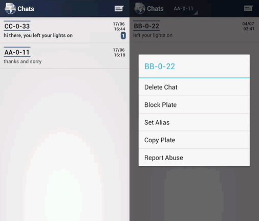 Chat history and available actions