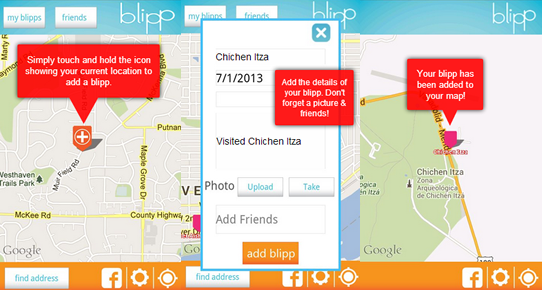 Adding blipps by tapping and entering details