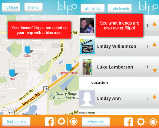 Sharing blipps with friends and viewing their activity