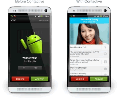 Call screen - with and without Contactive installed.