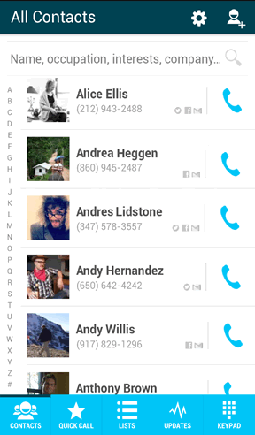 Your contacts with details from social accounts