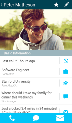 Read latest tweets or status updates from the call screen