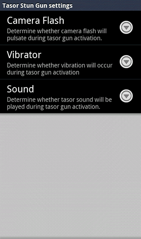 The options section where you can disable vibration and led display.