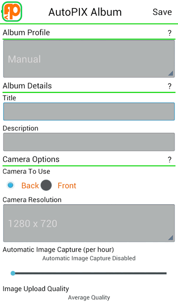 Options you can set for albums