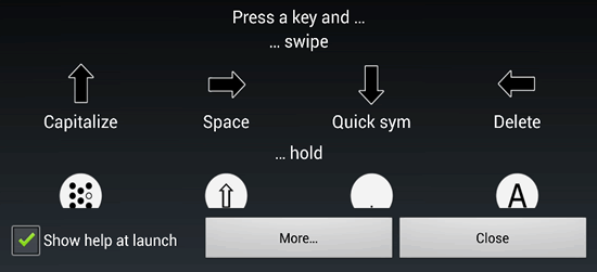 Swipe actions in KeyZag