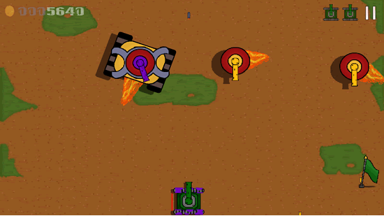 The retro-style in Lone Tank,  from environment to enemies.