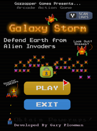 Scanlines in Galaxy Storm, right on the main screen