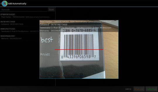 Scanning a qr to add movies