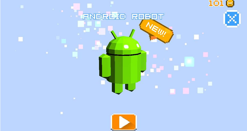 The Android robot, one of the dozen characters available.