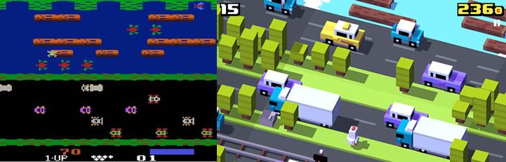 Frogger (left) vs Crossy Roads (right)